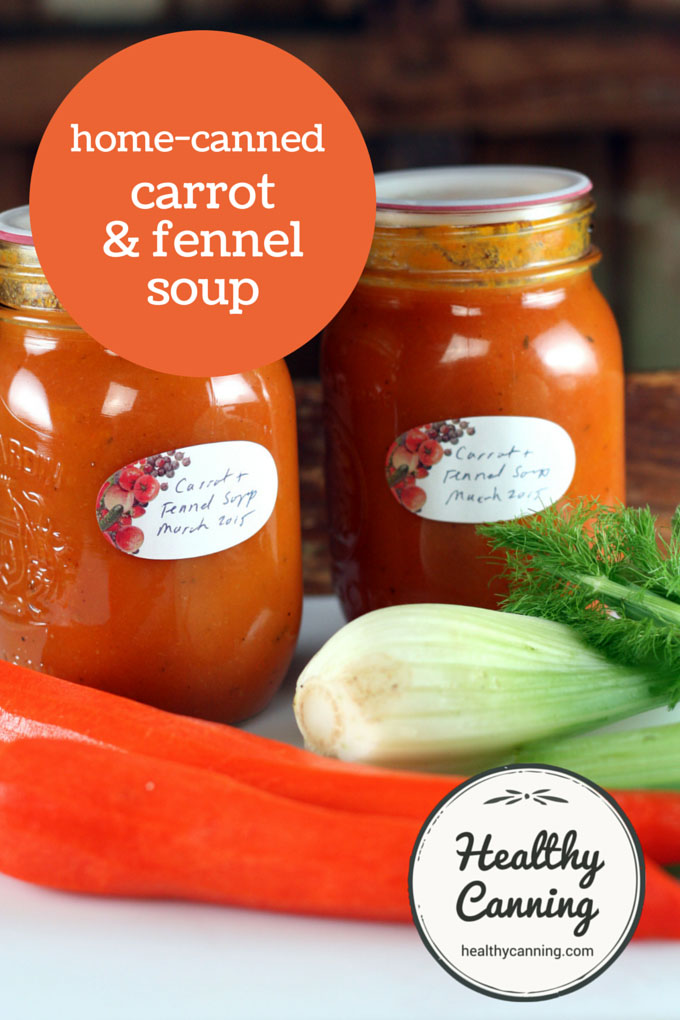 Home canned carrot and fennel soup