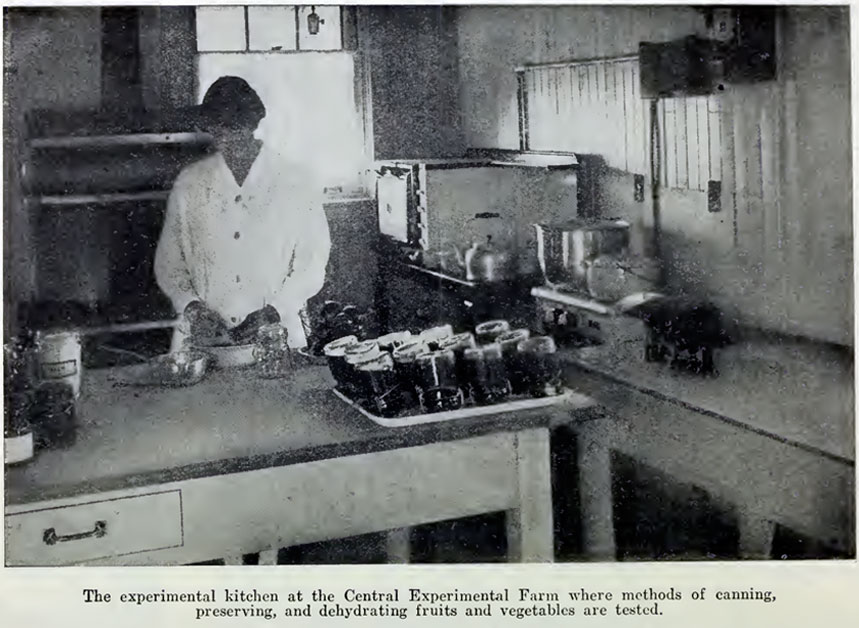 Inversion canning being practised with bail-type jars in Ottawa, Canada, 1928. Src: Hamilton, Ethel W. and W.T. Macoun. Preserving Fruits and Vegetables in the Home. Ottawa, Canada: Dominion of Canada Department of Agriculture. Bulletin 77. 1928. Page 7.