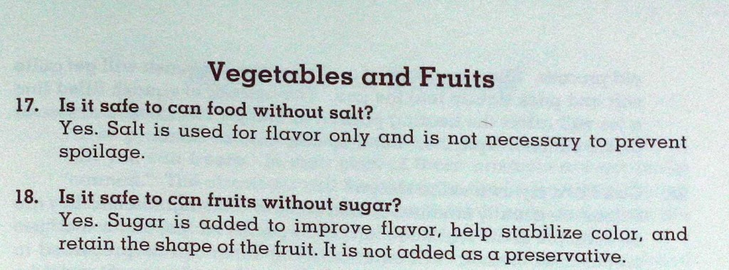 Sugar and salt free canning